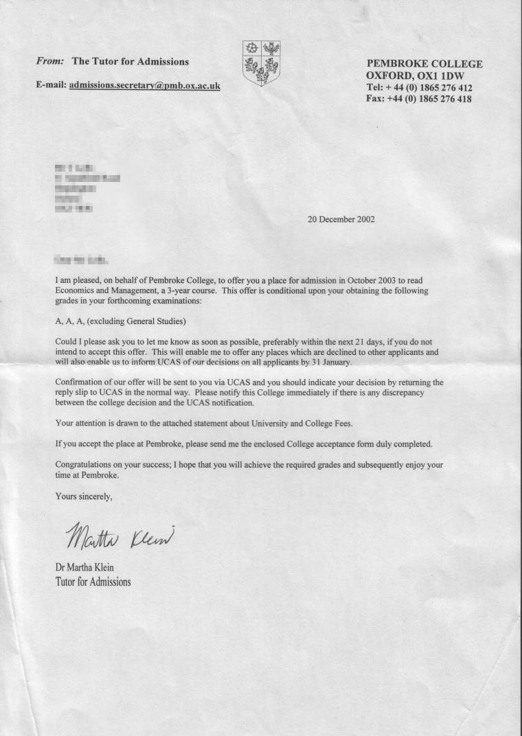 Get Oxford offer letter – Offer Letter