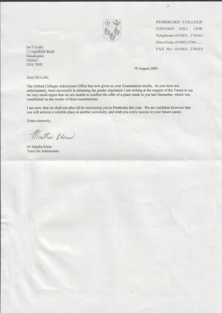 Get Oxford Rejection Letter Studential Com