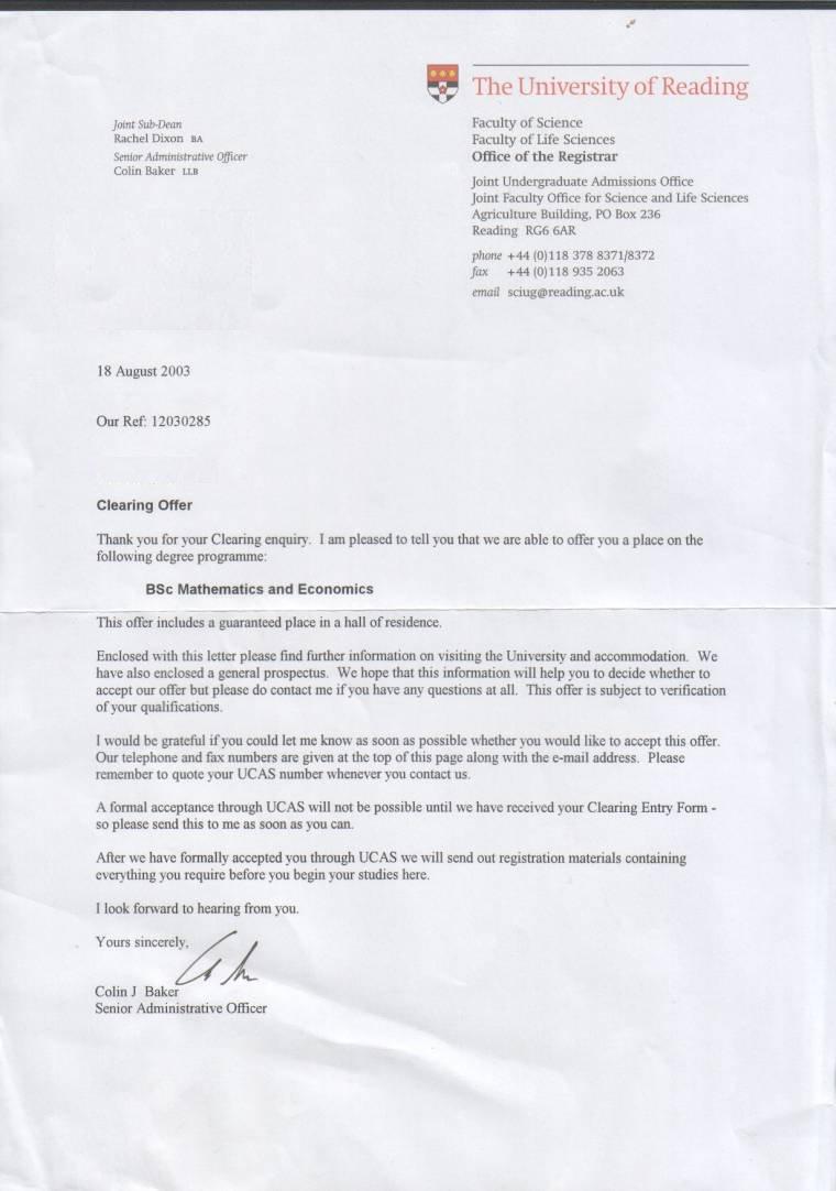 ucas acceptance letter informatin for letter ucas confirmation letter informatin for letter es acceptance