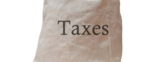 Bag with Taxes written on it